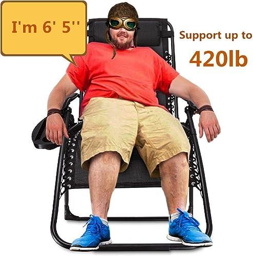 EZCHEER Zero Gravity Chair Oversized,420 lbs Weight Capacity Patio Lounge Chair
