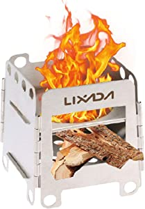 lixada Camping Stove Wood Burning Stoves Potable Folding Stainless Steel Backpacking Stove for Picnic BBQ Camp Hiking