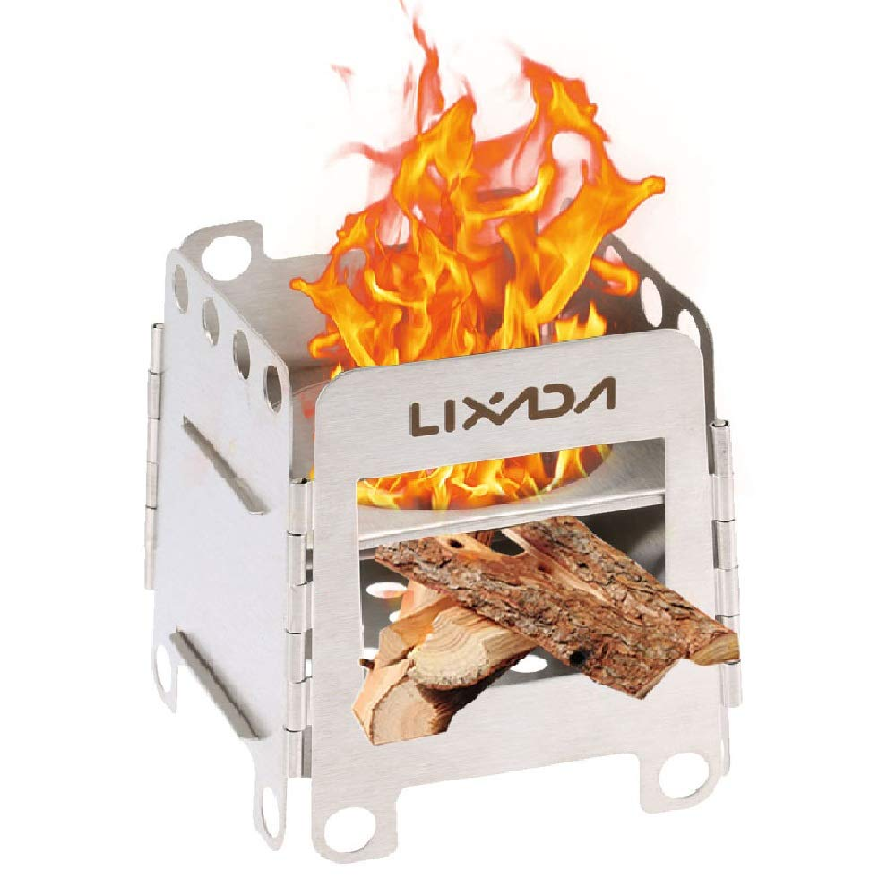 Lixada Camping Stove Portable Stainless Steel Backpacking Stove Wood Burning Stoves for Picnic BBQ Camp Hiking by Lixada