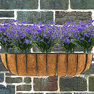 Louiesya Daffodils Artificial Flowers Fake Plants Outdoor UV Resistant Greenery Shrubs Bush Indoor Outside Home Garden Décor Plastic Flower Hanging Planter 4 Pcs (Purple) 5