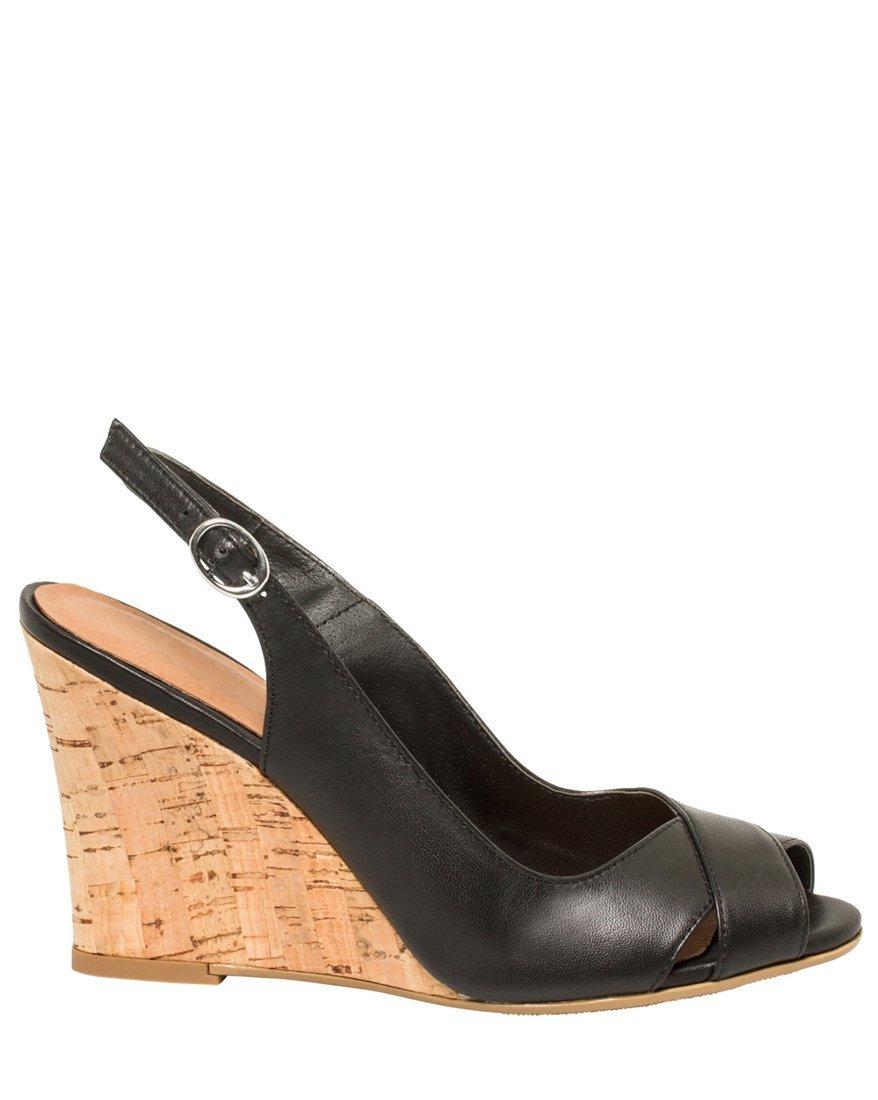 LE CHÂTEAU Women's Leather Slingback Wedge Sandal,9,Black by LE CHÂTEAU