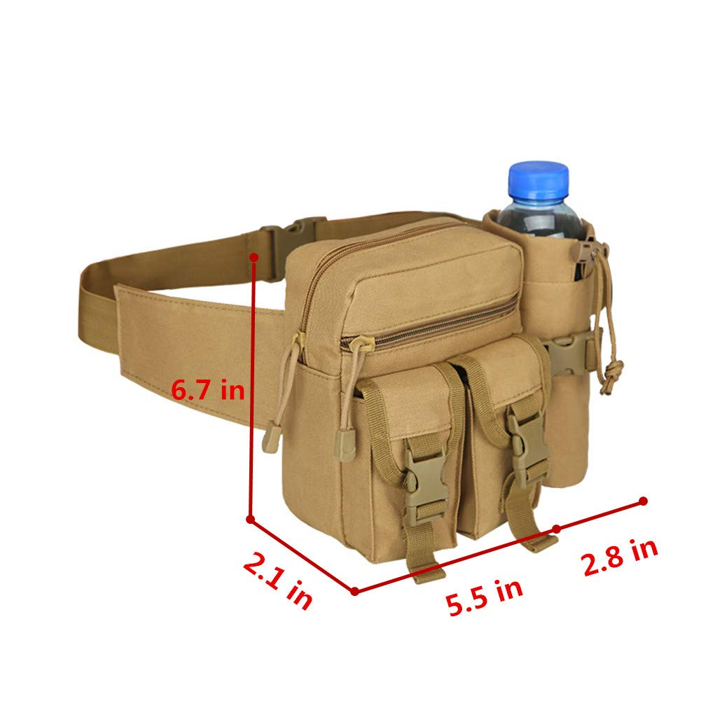 Lemon Park Tactics Waist Bag,Military Fanny Pack,Waterproof Belt Bag with Water Bottle Holder Suitable for Mountaineering/&Camping/&Riding/&Fishing/&Shooting
