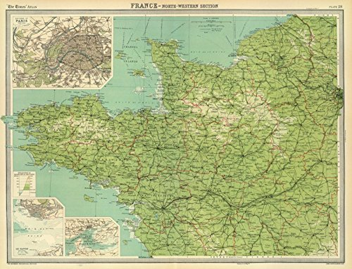 World Atlas | 1922 France - north-western section, environs of Paris. | Historic Antique Vintage Map Reprint