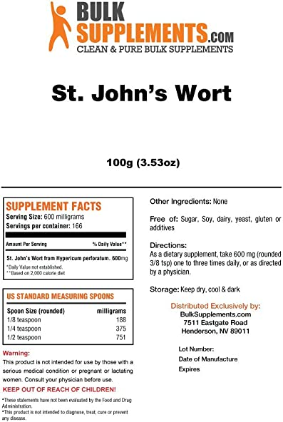 BulkSupplements St. Johns Wort Extract Powder 100 Grams