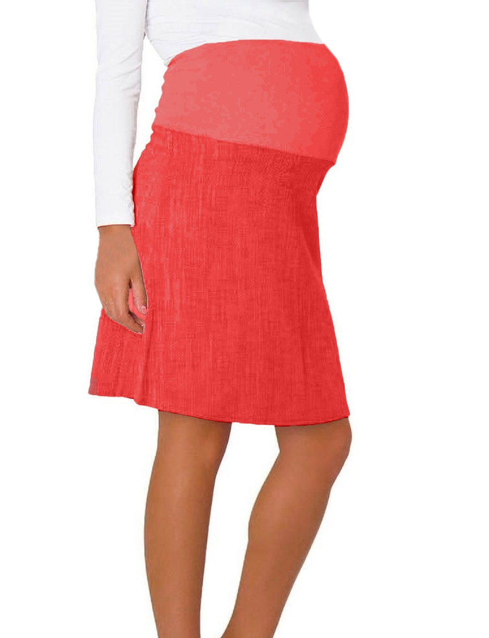 Pink Pixie Smart Cotton A Line Maternity Pregnancy Over Bump Skirt