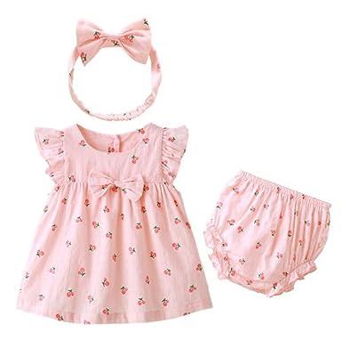 120f3e9cf3 BANGELY Toddler Girls Floral Print Bowknot Ruffle Sleeve Tutu Dress+Shorts  Bottoms+Headband Set