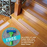 LifeGrip Anti-slip Safety Stair Thread - EVA - Clear - Comfortable for bare foot - 15 Pieces (4'' X28) BUY ONE GET ONE FREE 3.9'' Wide Rubber Roll (see Promotion for details)