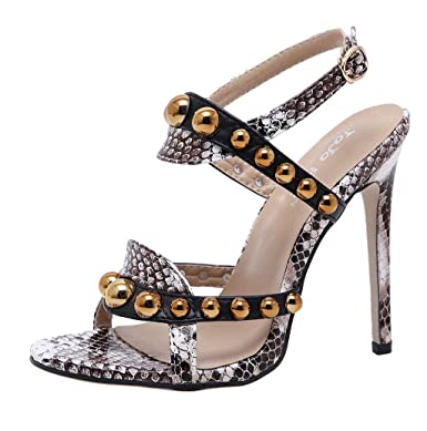 Supply New Snake Women Sandals Buckle Anke Strap Pointed Toe Women Sandals Shoes High Heels