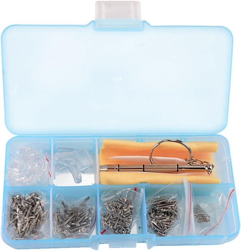 Shizak Kit de réparation de lunettes 700pièces composé d'écrous et plaquettes de nez en silicone Assortiment d'outils de réparation avec pincette et micro tournevis
