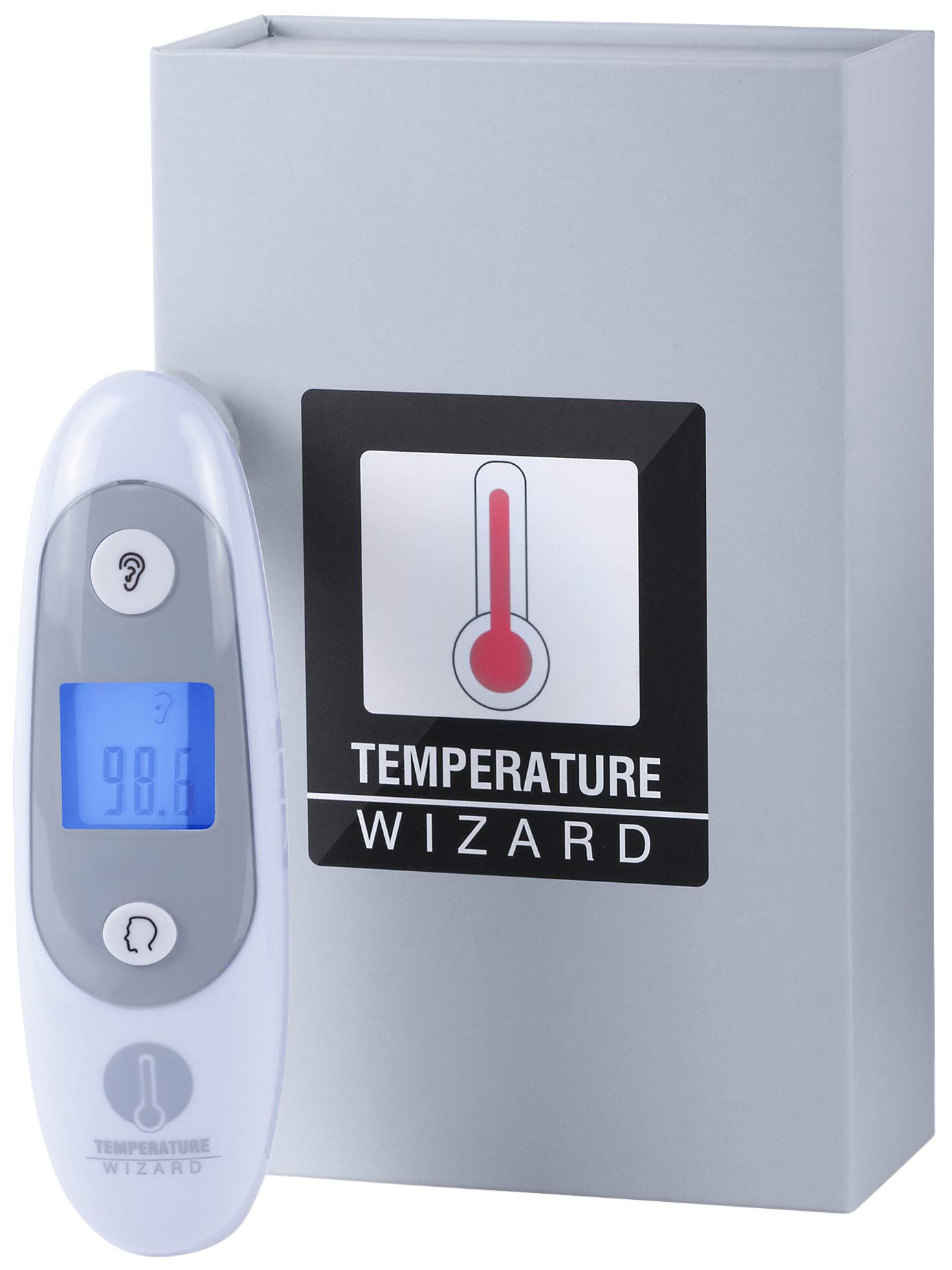 Wizard Laboratories Thermometer for Fever Digital Medical Infrared Forehead and Ear Thermometer for Baby, Kids, & Adults with Fever Indicator CE and FDA Approved