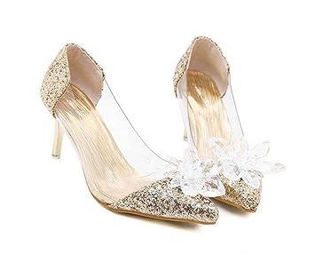 5548db538de Onfly Pump Transparent Kitten Heel Sandals Women s Charming Pointed Toe  Diamond Flower Cinderella Crystal Shoes Stiletto