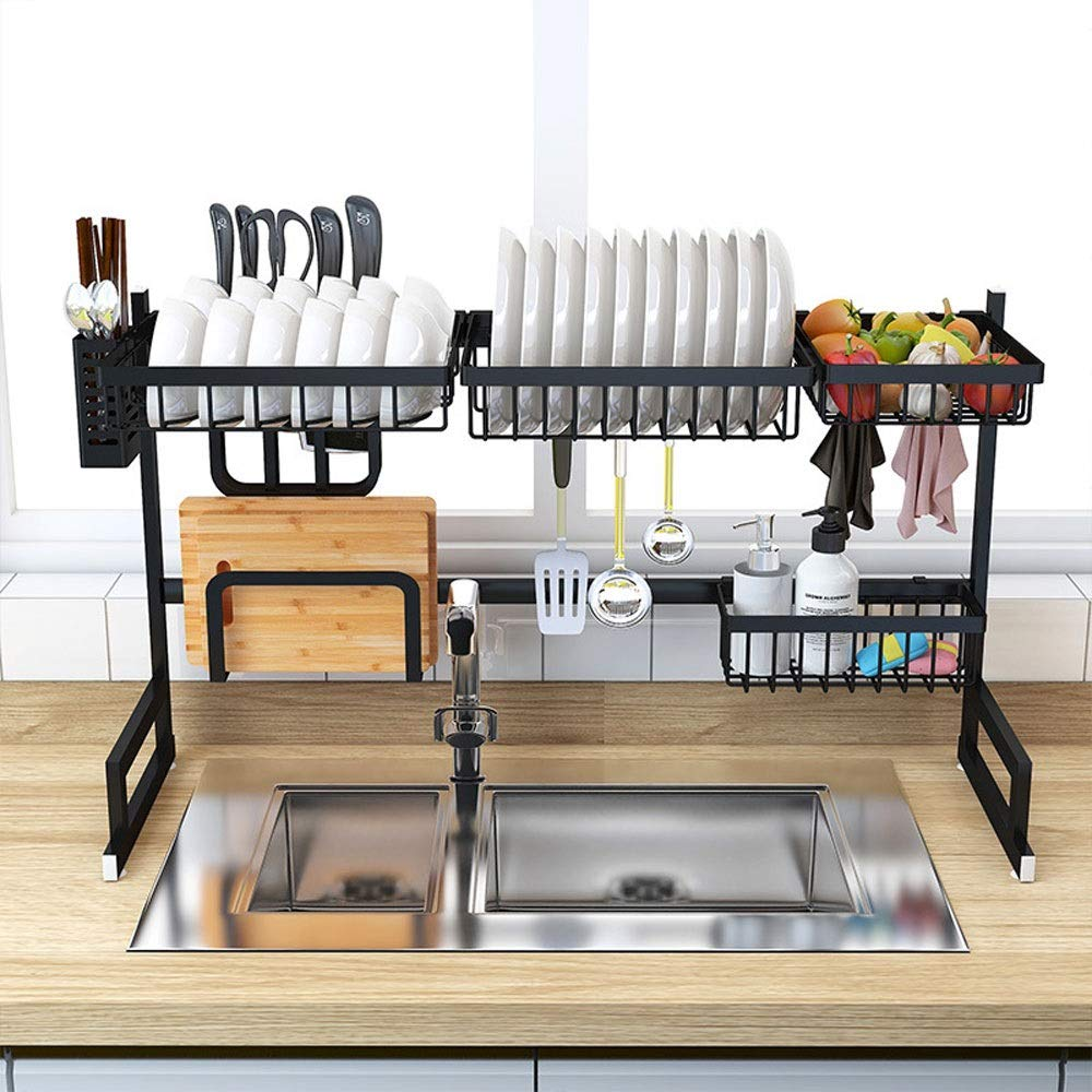 XIANGZHI Stainless Steel Sink Rack Drain Rack Sink Dry Knife and Fork Dish Rack Kitchen Rack Two-Tier Storage Rack (Color : Black, Size : Double Slot)