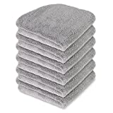 Liquid X Professional Grade Interior Cleaning Microfiber Towel : Gray w/Silver Silk Edges 16'' x 16'' (6 Pack)