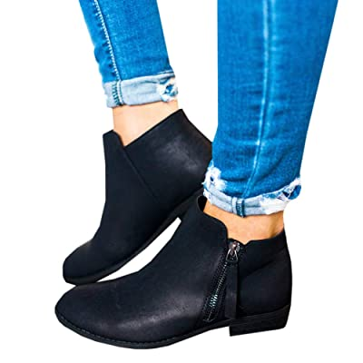 Ofenbuy Womens Ankle Boots Pointed Toe Faux Leather Stacked Low Heel Side Zipper Booties | Ankle & Bootie