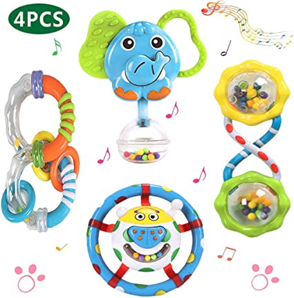 Baby Rattle Play Toy Twist Turn Rattle Teether Easy Grip 6 Month by first steps