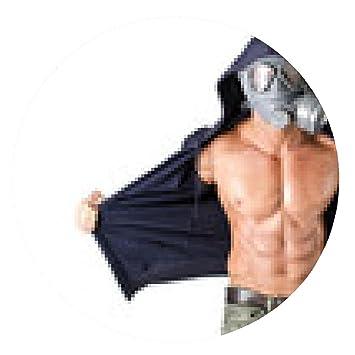 alfombrilla de ratón hombre musculoso que llevaba máscara antigas, el torso desnudo rasgado - ronda