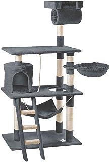 Mc Haus MAA1400G Árbol Rascador para Gatos con Nido Hamaca y Plataforma 140cm de Altura