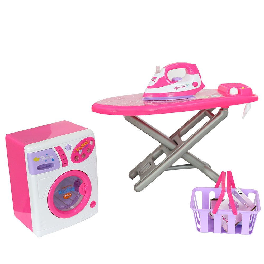 COLOR TREE Housekeeping Playset Electric Iron& Washing Machine for Kids