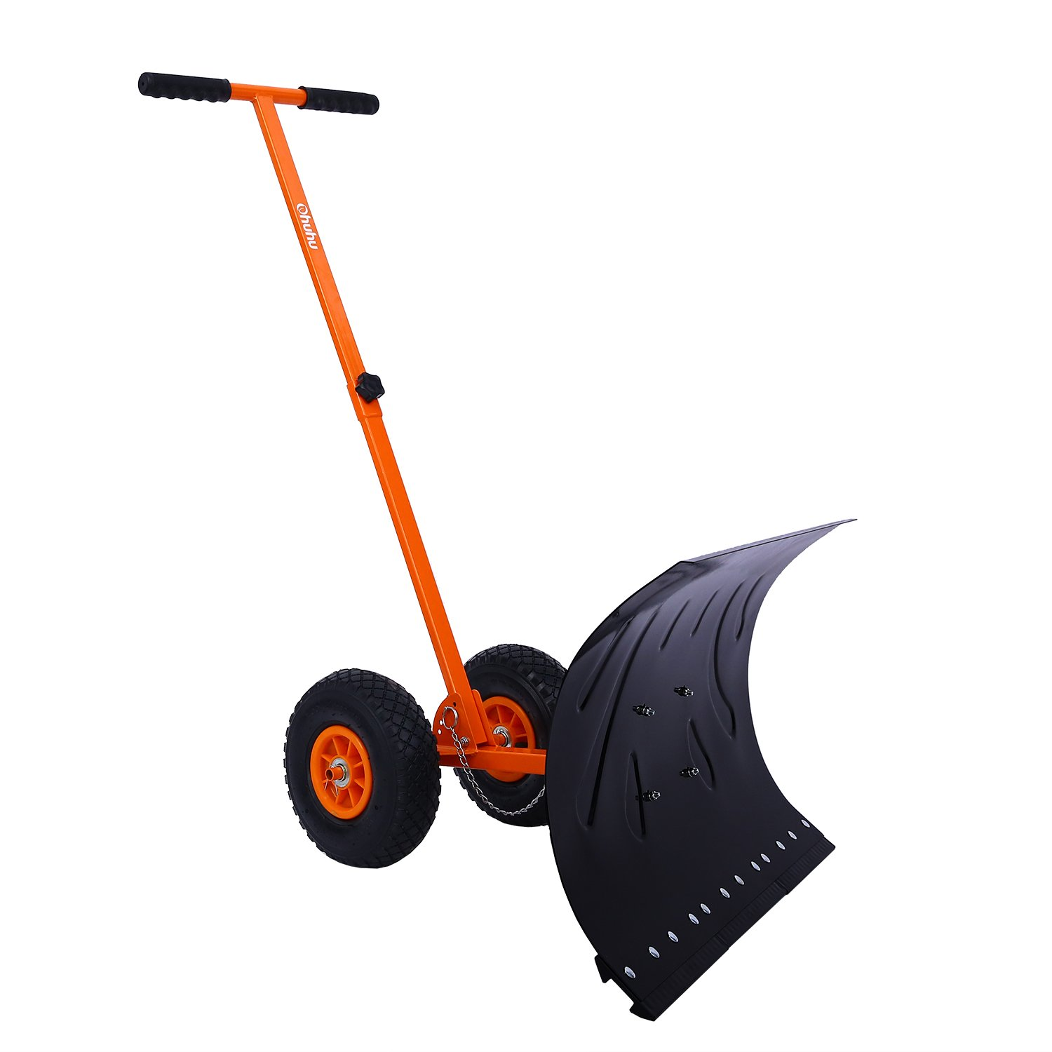 Ohuhu Adjustable Wheeled Snow Shovel Pusher, Rolling Snow Plow Shovels Snow Removal Tool