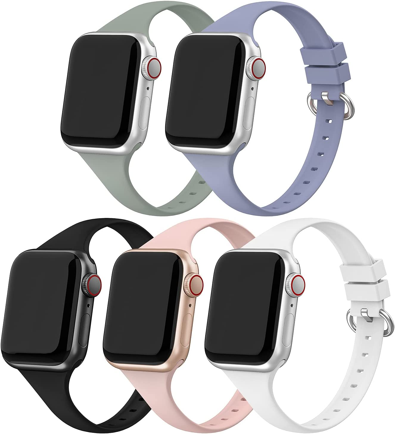 5 Pack Sport Band Compatible with Apple Watch 38mm 40mm,Narrow Soft Silicone Slim Thin Small Replacement Bands Strap Wristband Compatible for Apple Watch iWatch Series 6 5 4 3 2 1 SE Edition Women Men
