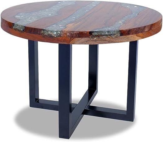Tidyard Round Coffee Table Handmade End Side Table Living Room Furniture Teak Resin 23.6″