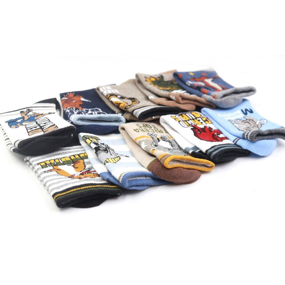 Boys Socks,10 of Pack Cute Cartoon Dinosaur Pattern Cotton Boys Crew Socks 4-12 years by Srinea (Image #3)