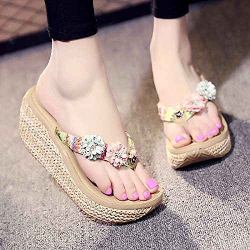 XZ thick Seaside fashion fashion slope anti summer slippers slip LIUXINDA and holiday flip foot Beige Summer pin tide female cool bottom flops wear dpzwAzOq