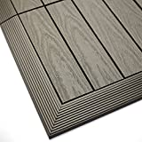 NewTechWood US-QD-OF-ZX-ST 1/6 x 1 ft. Quick Composite Deck Tile Outside Corner Trim in Egyptian Stone Gray (2-Pieces/Box)