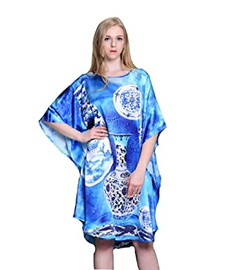 Sexytown Womens 100 Pure Silk Nightgown Hand Painted Batwing
