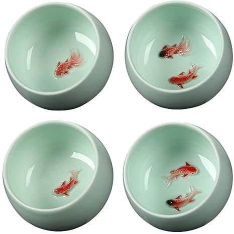 Amazoncom Da Jia Pack Of 4 Vivid Ceramic Goldfish Carp Fish Tea
