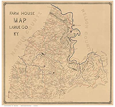 Larue County Kentucky 1899 - Wall Map with Homeowner Names - Old Map Reprint- Farm House Map