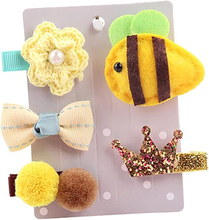 Kimanli Toddler Hairpin,5Pcs Girl Christmas Cartoon animal Headwear Princess Headband