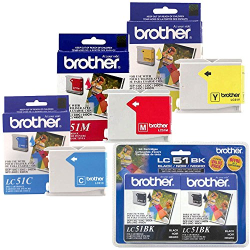 Brother LC51 Black Ink Twin Pack with Standard Yield Color Ink Cartridge Set ()