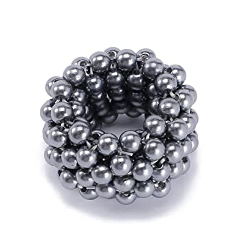 Women Elastic Scrunchies Ponytail Holder Pearls Beads Hair Rope Rubber Hair Ties