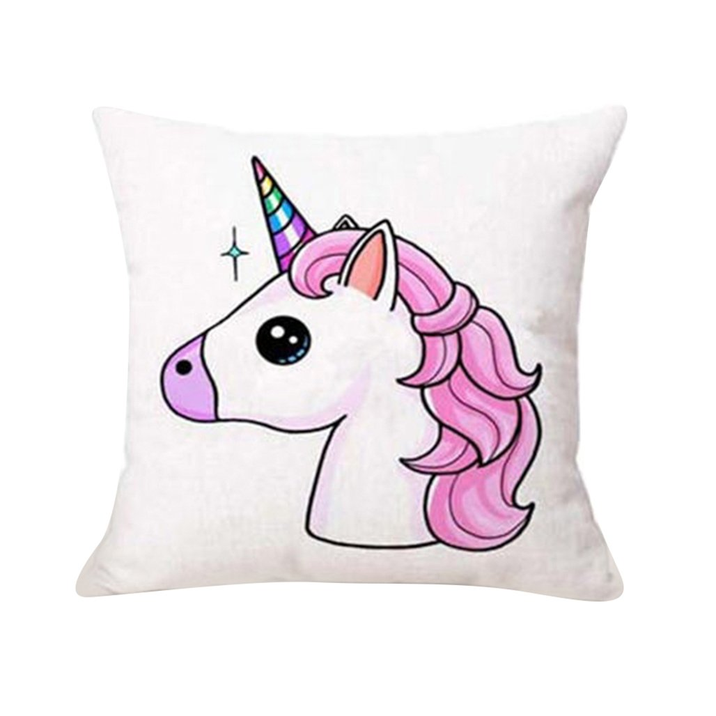 Cartoon Unicorn Print Pillow Case Bed Sofa Waist Cushion Cover Car Home Decor Wentann339