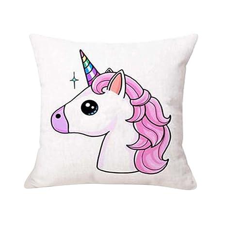 Sunwords Unicornio de dibujos animados Imprimir Throw almohada de la caja de cojín Inicio de la cama Sofá decoración del coche de la cintura: Amazon.es: ...