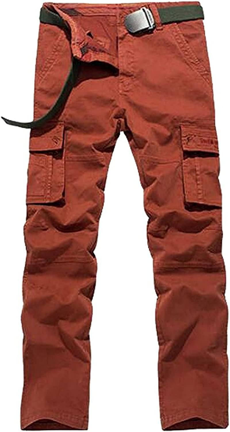 LOKOUO Mens Casual Silm Fit Cotton Military Cargo No Belt Work Pants