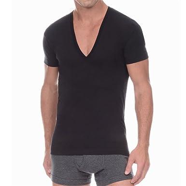 9d851b48 MSMIRROR Men Deep V Neck T Shirt Short Sleeve Solid Undershirt Cotton Basic  T-Shirt at Amazon Men's Clothing store: