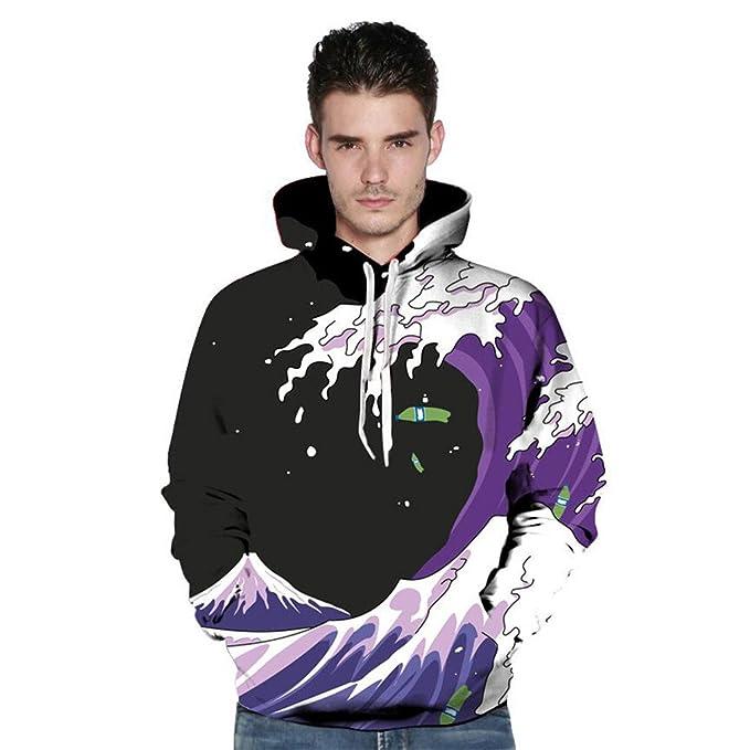 elkdvx Funny Purple Snow Mountain Sudaderas con Capucha Impresas en 3D Sudaderas con Capucha Finas para Hombres QL254 S: Amazon.es: Ropa y accesorios