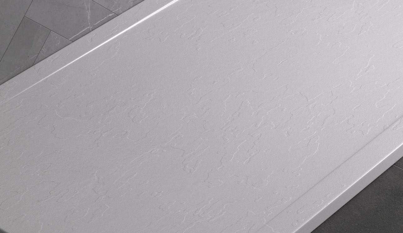 Plato de ducha de mármol, color antracita RAL7016 con desagüe lateral, superficie de efecto piedra pizarra, serie Niza, Slim 3 cm, revestimiento de Gelcoat, antideslizante: Amazon.es: Bricolaje y herramientas