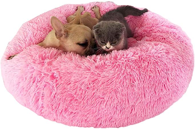 Imagen deDastrues Dog Bed Dog Bed Cat Bed Pet Beds for Cats Pet Bed, Pet Beds for Cats, Pet Beds for Dogs Cat Pet Dog Cat Calming Bed Round Nest Warm Soft Plush Comfortable for Sleeping Winter