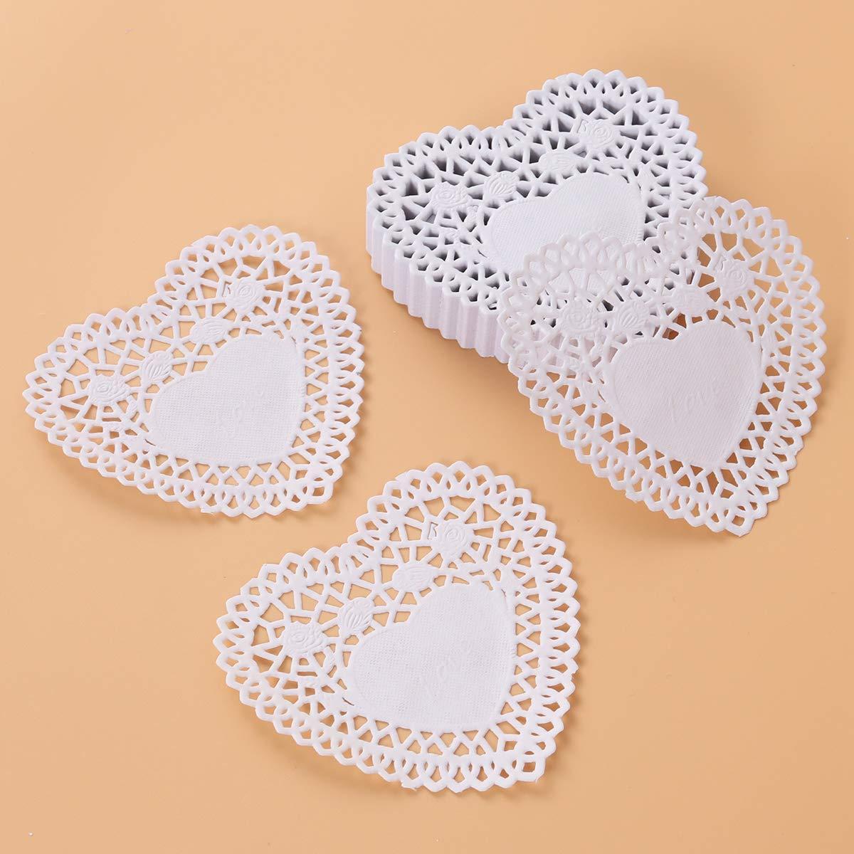 per Cottura di Torte 250 Pezzi Ideali per Matrimoni e stoviglie Tovaglioli di Carta a Forma di Cuore con Pizzo 10 cm Colore: Bianco Vosarea