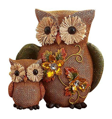 Fall Jeweled Shelf Table Top Sitter Thanksgiving Autumn Home Accent Decoration (Owls) by KNL Store]()
