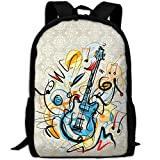 Guitar Double Shoulder Backpacks For Adults Traveling Bags Full Print Fashion