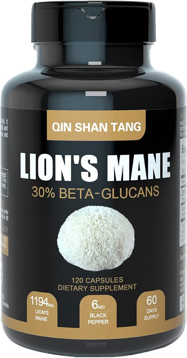 Organic Lions Mane Mushroom Capsules (120ct), Made with 30% Beta-Glucans, Black Pepper Extract - Nootropic Brain Supplement