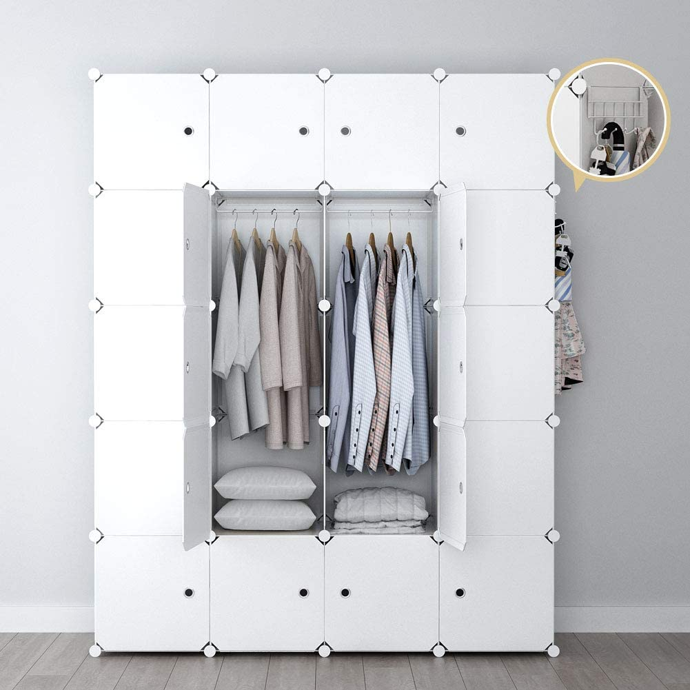 YOZO Portable Closet Wardrobe Clothes Modular Dresser Garment Rack Polyresin Storage Organizer Bedroom Armoire Cubby Shelving Unit Dresser Multifunction Cabinet DIY Furniture, White, 20 Cubes