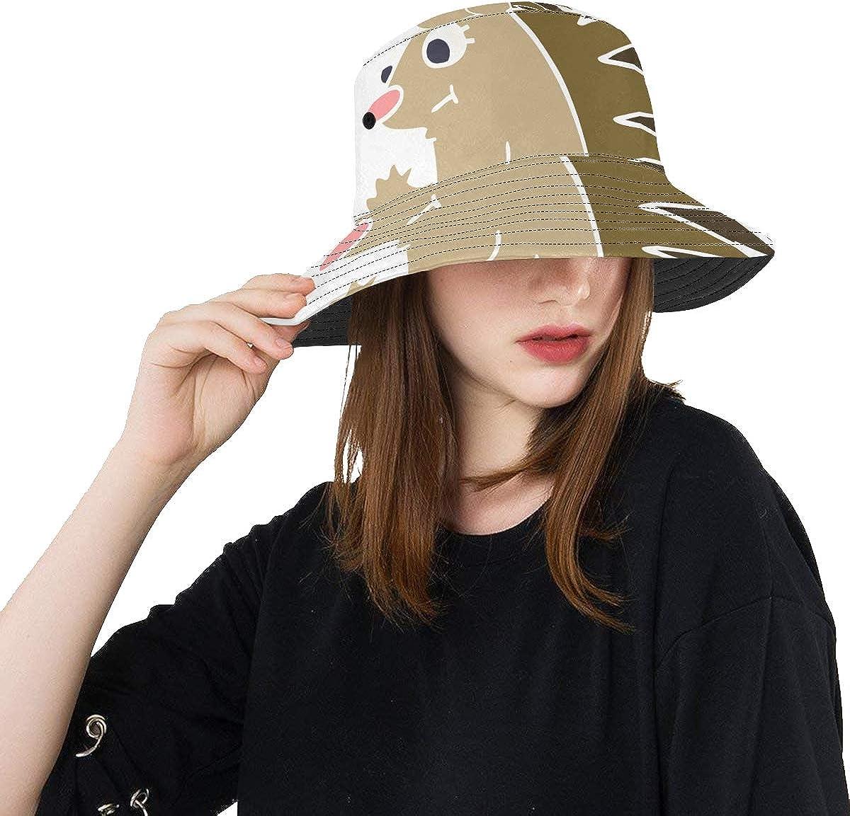 Ugly Hedgehog Cartoon Summer Unisex Fishing Sun Top Bucket Hats for Kid Teens Women and Men with Packable Fisherman Cap for Outdoor Baseball Sport Picnic