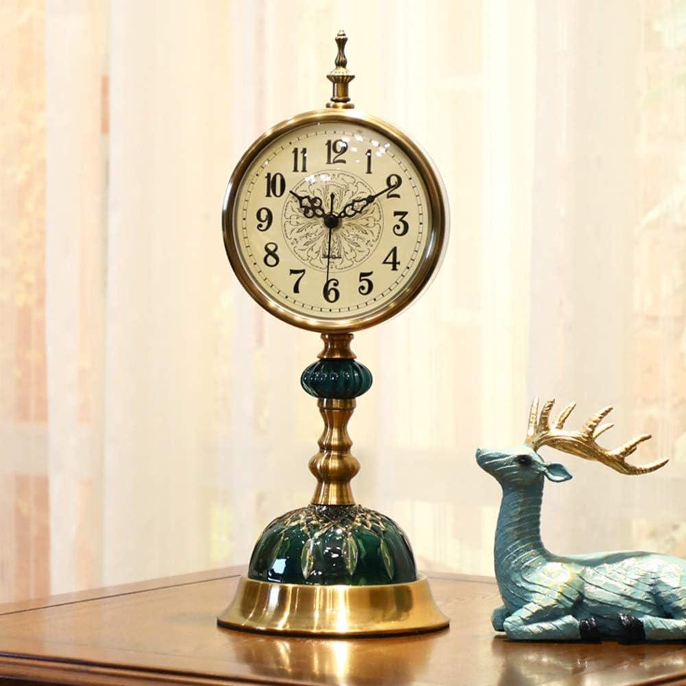 ALHX ヨーロッパのレトロブロンズメタル時計アメリカの農村アンティークグリーングラスリビングルームベッドルームベッドサイドエントランスサイレントミュートムーブメント非ダニ時計16.5x43cm ALHX
