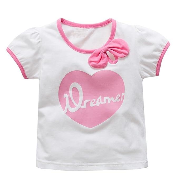 Tefamore Kleinkind Kinder Baby Jungen Mädchen Kleidung Kurzarm Cartoon  Großes Herz Tops T-Shirt Bluse
