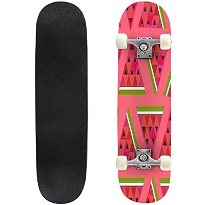 Classic Concave Skateboard Pink Seamless Vector Geometric Pattern with Slices of Watermelon Longboard Maple Deck Extreme Sports and Outdoors Double Kick Trick for Beginners and Professionals : Sports & Outdoors